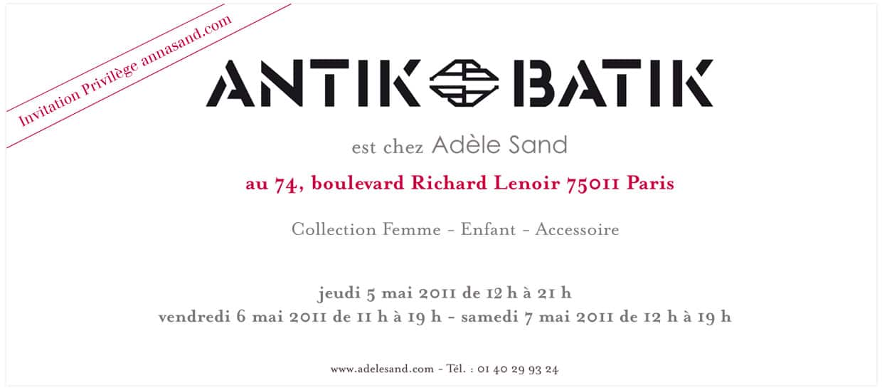 Vente prive Antik Batik chez Adle Sand