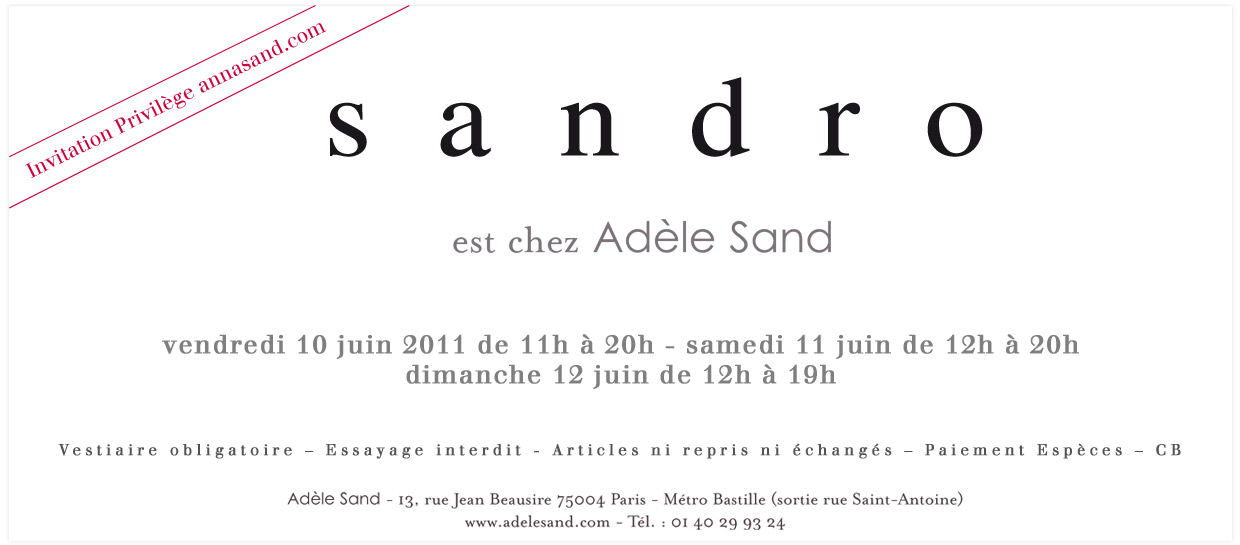 Vente prive Sandro chez Adle Sand