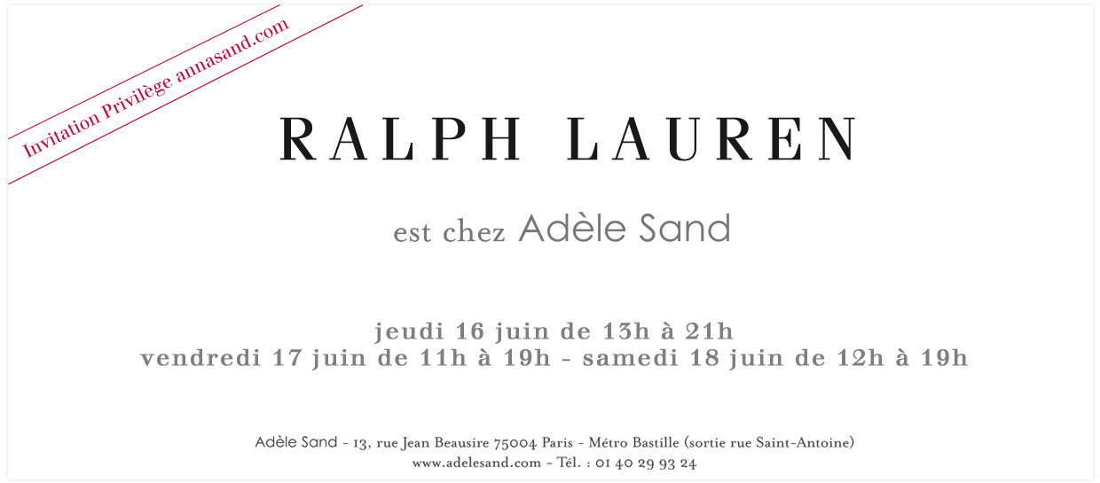 Vente prive Ralph Lauren chez Adle Sand