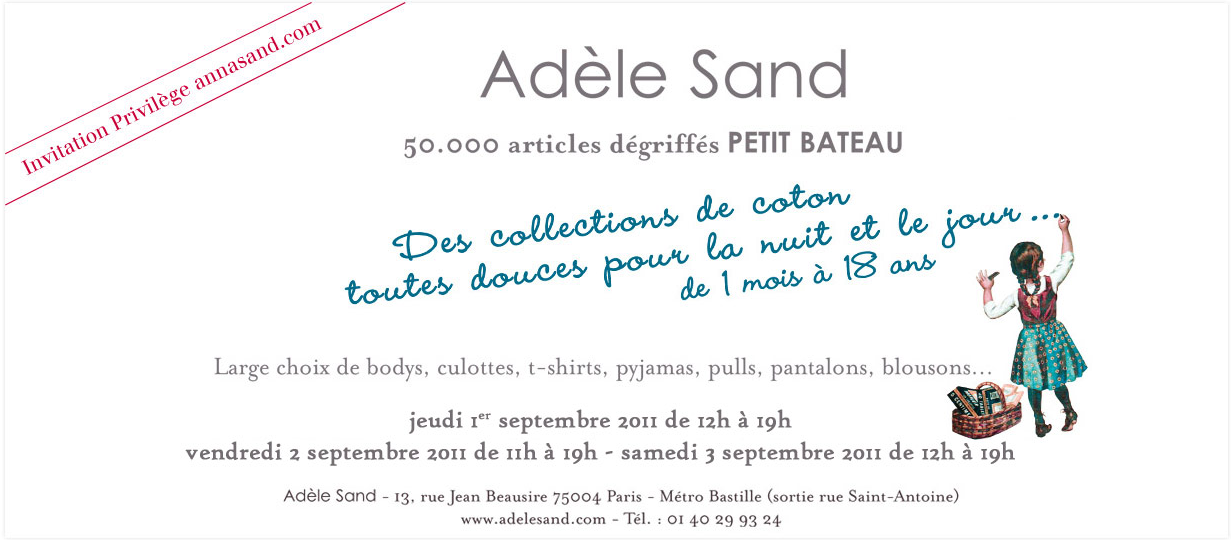 Calendrier des ventes prives Adle Sand &#8211; Automne 2011