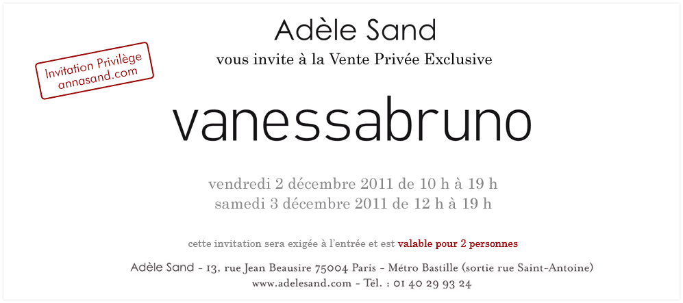 Vente prive Vanessa Bruno chez Adle Sand &#8211; Dcembre 2011
