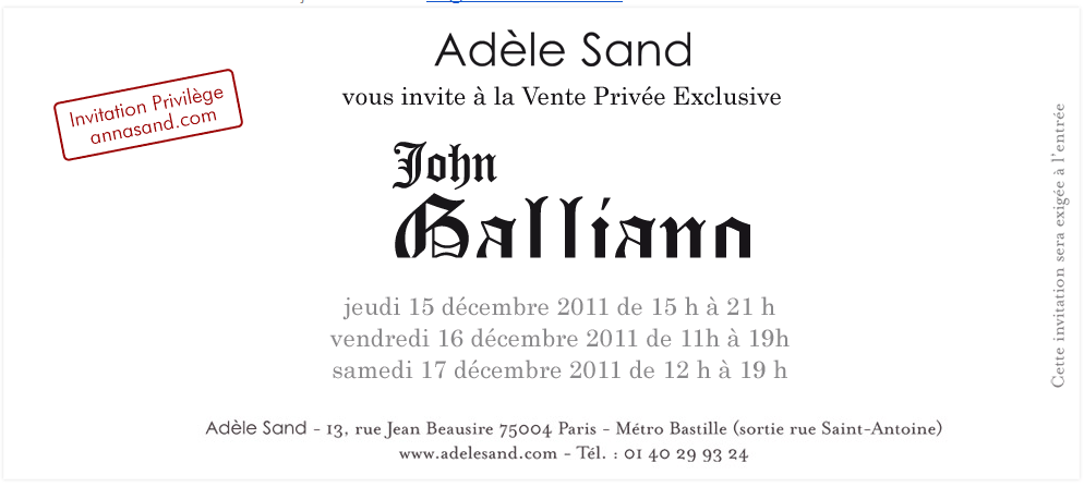 Vente prive John Galliano chez Adle Sand