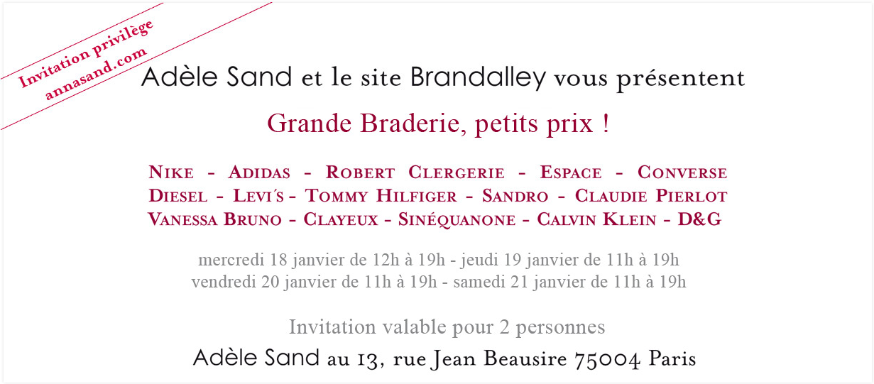 Braderie Adle Sand &#8211; Hiver 2011
